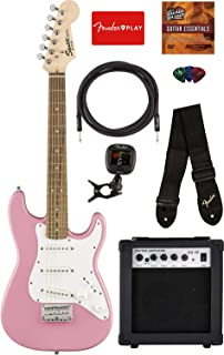 Fender Squier Mini Strat Electric Guitar - Pink Bundle with Amplifier, Instrument Cable, Tuner, Strap, Picks, Fender Play Online Lessons, and Austin Bazaar Instructional DVD