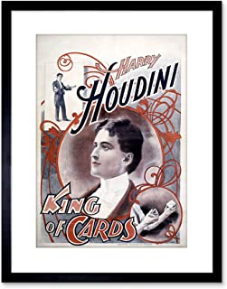 9x7 '' Harry Houdini Magician King of Cards Vintage AD Framed Art Print F97X399