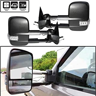 AERDM New Power Heated Telescoping Towing Mirrors with Turn Signal & Clearance Lights fit for 03-07 Chevy/GMC Silverado/Sierra