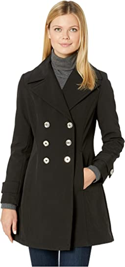 Double Breasted Softshell Jacket with Straight Sleeve