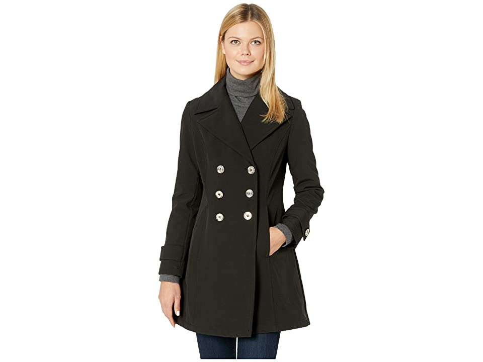 Ivanka Trump Double Breasted Softshell Jacket with Straight Sleeve (Black) Women