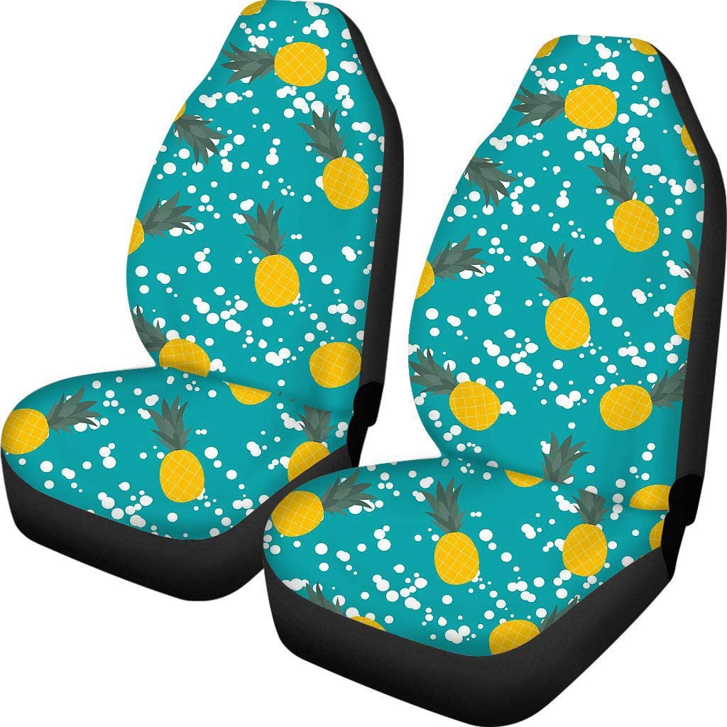 Fun Floral Print Front Bucket Car Seat Covers for Detachable and Non Detachable Headrests Auto