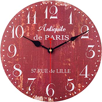 SkyNature Wooden Wall Clock, Silent Non-Ticking Battery Operated Quartz Movement, Large Arabic Numerals Vintage Rustic Decorative Clock for Living, Dining, Bedroom, Kitchen - 12 Inch, Distressed Red