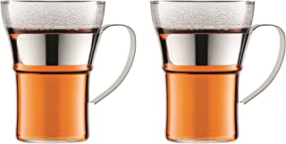 Bodum 4553-16 Assam Coffee Glass with Steel Handle 2 Pieces, Clear