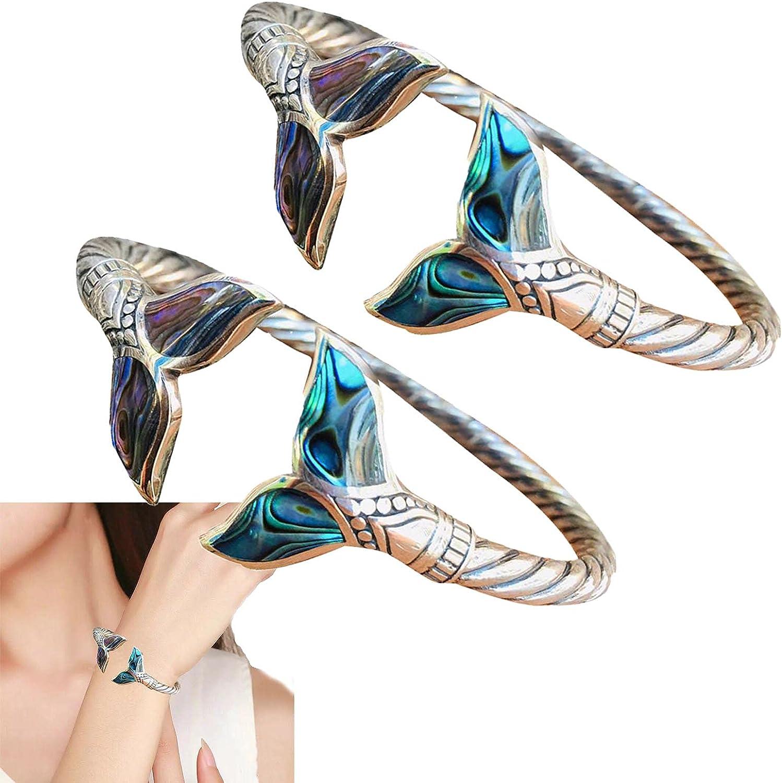 1/2Pcs Abalone Shell and Mermaid Tail Bangle Bracelet - Women's Bracelets Adjustable Open Hand Chain Mermaid Tail-Cuff Bracelet, Marine Style Jewelry for Women Girls (2Pcs)
