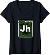 Womens Vintage Jack Herer Marijuana Sativa Strain THC  V-Neck T-Shirt