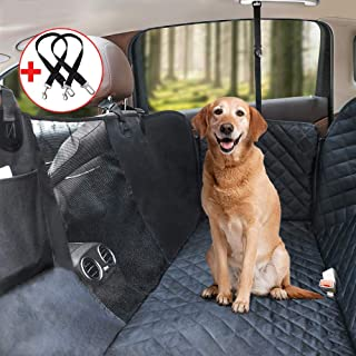 Pet Seat Cover for Back Seat, HeiYi Waterproof Backseat Cover for Dogs Car with Mesh Visual Window, Anti-Scratch Nonslip Pet Car Seat Cover, Dog Car Hammock for Cars Trucks SUV