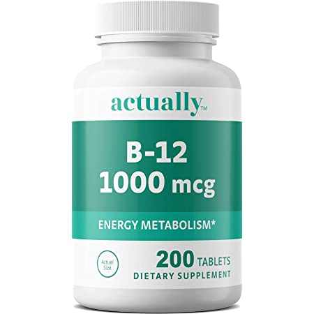 Actually Vitamin B12 1000mcg Tablets 200ct Energy Metabolism for Adults, 200Day Supply, 200 Count