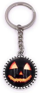 H-Customs Halloween ansikte pumpa i cirkeln nyckelhängare hängare av metall