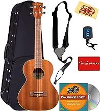 Kala KA-TE Mahogany Tenor Acoustic-Electric Ukulele Bundle with Hard Case, Tuner, Strap, Fender Play, Austin Bazaar Instructional DVD, and Polishing Cloth