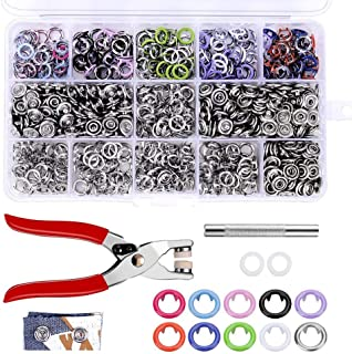 200 Sets Snap Fasteners Kit Tool, 10 Colors 9.5mm Metal Snap Buttons Rings with Fastener Pliers Press Tool Kit for Clothing