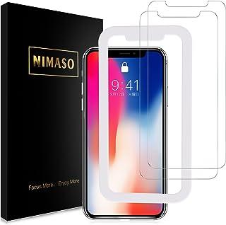 Nimaso iPhoneX/iPhoneXS 5.8 インチ 用 液晶保護ガラスフィルム 【ガイド枠付き】 【2枚セット】( アイフォンX/XS用)