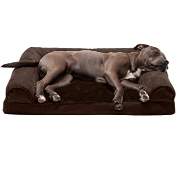 Furhaven Pet - Packable Travel Bed, Plush Orthopedic Sofa, L-Shaped Chaise Couch, & Mid-Century Modern Dog Bed Frame for Dogs & Cats - Multiple Styles, Sizes, & Colors