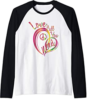 Love is All You Need Peace Sign Hippie Hispsters Gift Raglan Baseball Tee - coolthings.us