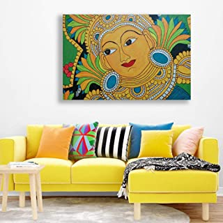 Inephos Unframed Canvas Painting - Beautiful Kerala Mural Art Wall Painting for Living Room, Bedroom, Office, Hotels, Drawing Room (36 inches X 24 inches)
