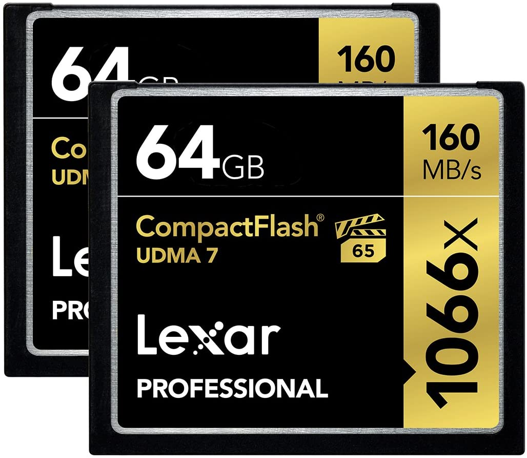 Lexar Professional 1066x 64GB (2-Pack) CompactFlash Card, Up to 160MB/s Read, for Professional Photographer, Videographer, Enthusiast (LCF64GCRBNA10662)