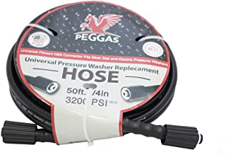 PEGGAS 50 ft. 3200 PSI High Pressure Power Washer Hose - M22 Connector - Replacement Hose - Gasoline - Electric Pressure Washer - Replacement for Ryobi - B&S - Craftsman - Karcher - Generac