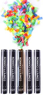 Legend & Co. Large Confetti Cannons Party Poppers Multicolor, (5 Pack) Air Compressed and Biodegradable | Launches 20-25ft | Celebrations, New Year's Eve, Birthdays and Weddings