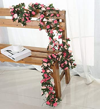 Miracliy 5 Pack 41 FT Fake Rose Vine Flowers Plants Artificial Flower Hanging Rose Ivy Home Hotel Office Wedding Party Garden