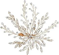 Miallo Handmade Rhinestones Side Hair Clip Bridal Headpiece Wedding Accessories(Rose Gold)