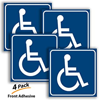 Handicap Signs Stickers Decal Symbol - 4 Pack, 3x3 inch - Premium Front Adhesive Vinyl for Applying Inside The Window or Glass Door, Disable Wheelchair Sign, Disability Sticker.