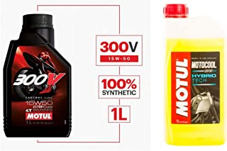 Motul 300V 104125 Factory Line Ester Core Fully Synthetic 15W-50 Petrol Engine Oil for Bikes (1 L) & Motul Motocool Expert...