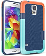 Galaxy S5 Case,TILL(TM) Hybrid Impact Defender 3 Color Rugged Case, Soft PC Bumper +Strips Anti-Slip Back Shockproof Protective Slim Cover Shell for Samsung Galaxy S5 I9600 GS5(Orange & Blue)