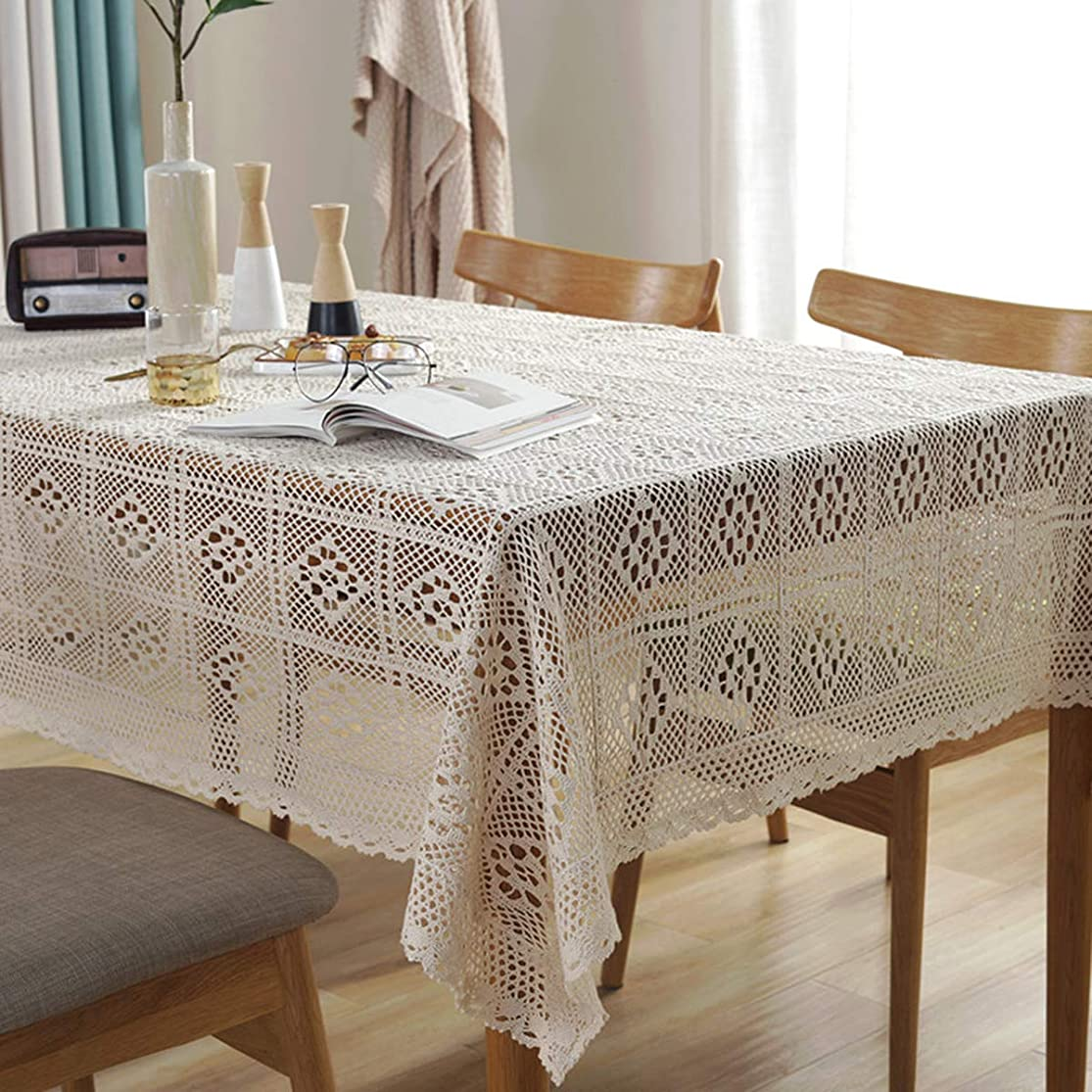 Bringsine Vintage Handmade Crochet Diamond Tablecloth Decorative Macrame Lace Table Cover Layer for Kitchen Dinning Pub Bedside Tabletop Sheet Decoration(Beige, Rectangle/Oblong, 55 x 71 Inch) bccouyro0