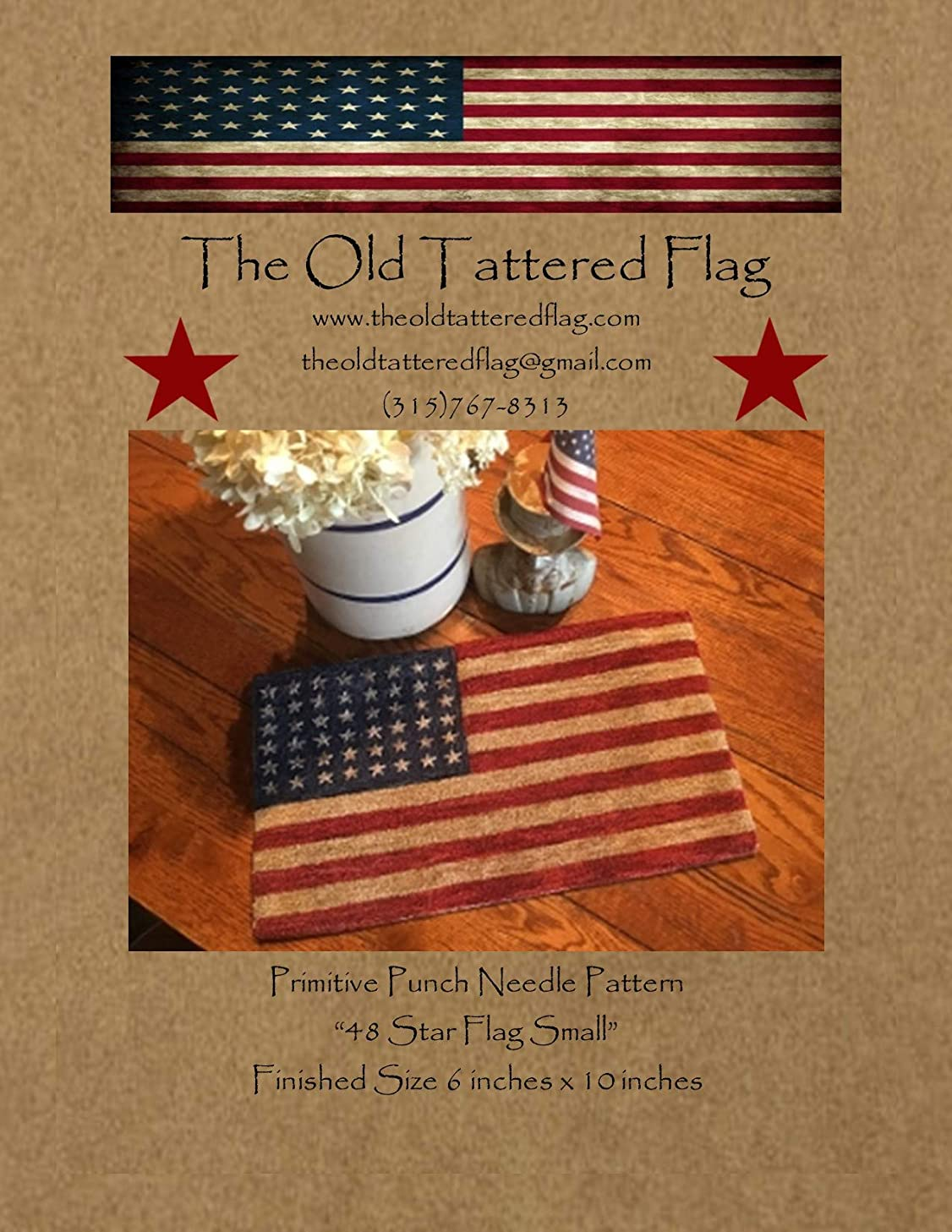 The Old Tattered Flag OTF9780000 48 Star Flag Small Punch Needle Pattern