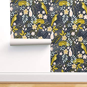 Peel And Stick Removable Wallpaper Nature Animals Botanical Foliage Floral Rabbit Fox Dark By Melarmstrongdesign 12in X 24in Woven Textured Peel And Stick Removable Wallpaper Test Swatch Amazon Com