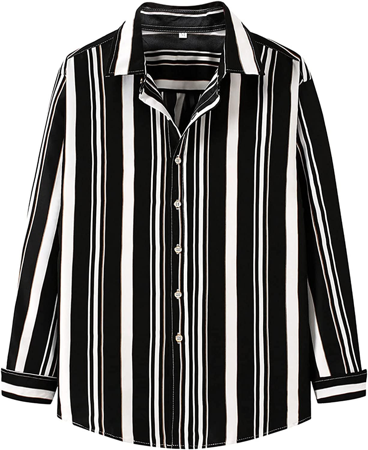 UBST Striped Shirts for Mens, 2021 Fall Button Down Long Sleeve Lapel Collar Loose Tops Office Business Casual Shirt
