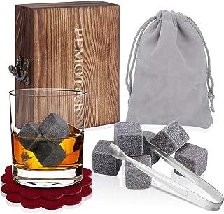 PEMOTech Whisky Steine, 9 Paare Granit-Drink-Rocks, 1 Edelstahlclip und 2 Untersetzer, verpackt in Einer exklusiven hölzernen Geschenk-Tasche und Samt-Tasche, Beste Geschenke für Männer im Winter