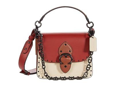 COACH Color-Block Leather with Border Rivets Beat Shoulder Bag 18