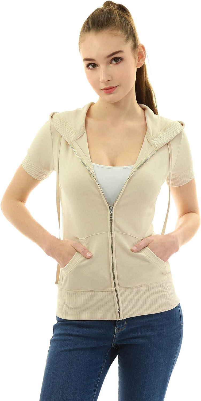 AmélieBoutik Women Hoodie Zip Up Short Sleeve Jacket