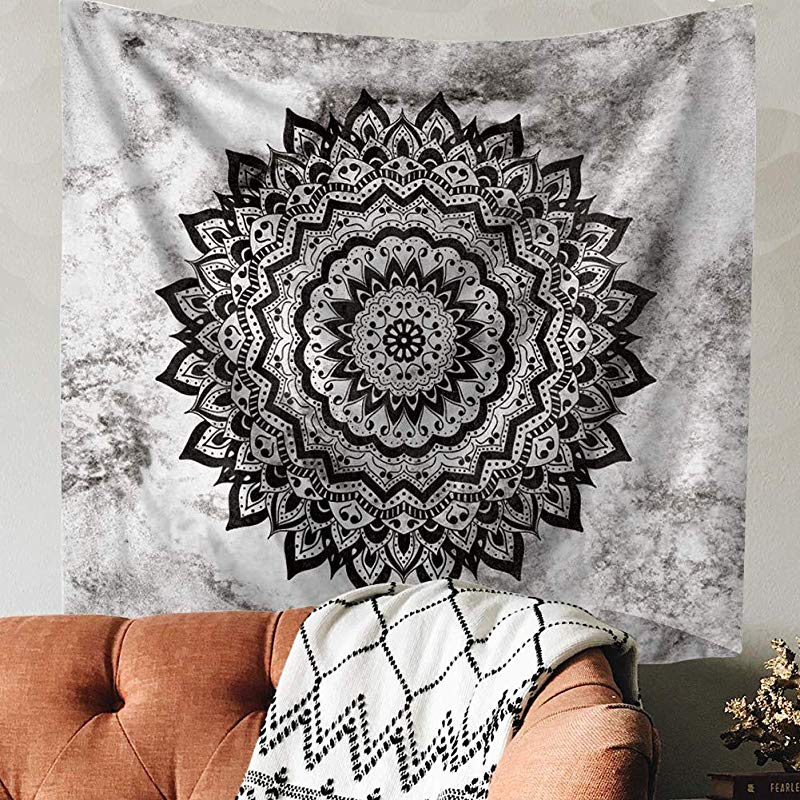 Indusleaf Psychedelic Mandala Tapestry Wall Hanging Bohemian Living Room Wall Decor For Women Girls Black And White Boho Medallion Tapestry For Room