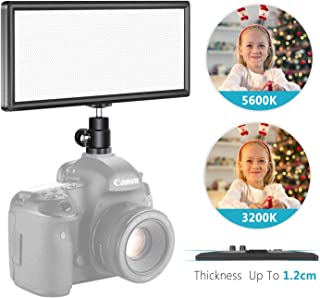 Neewer Super Slim Bi-Color Dimmable LED Video Light with LCD Display - Ultra High Power On Camera LED Panel, 3200K-5600K f...
