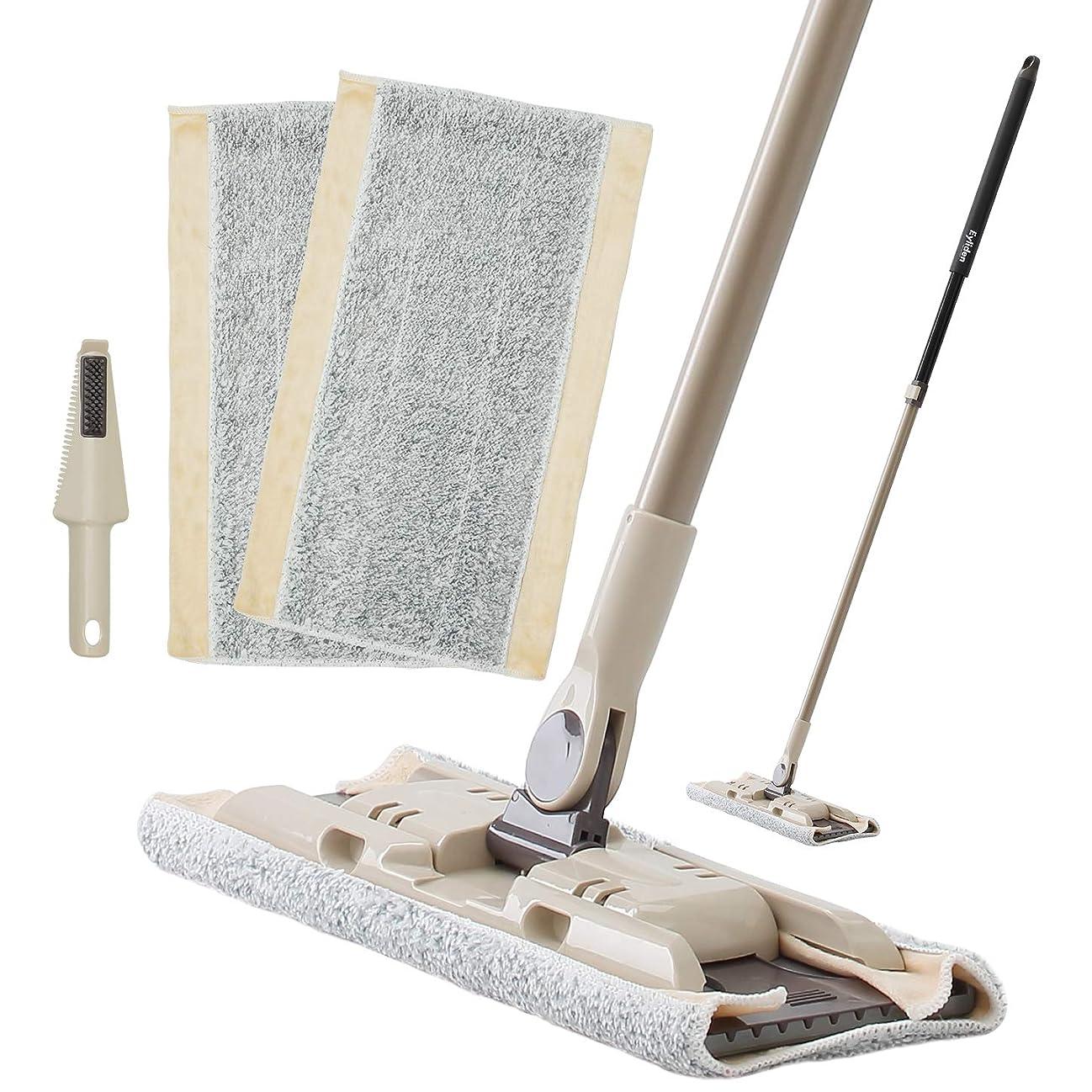 意外世界的に三番Eyliden. フロアモップ フローリング モップ 床 マイクロファイバー クロス 2枚付き 取替 ベーシック 掃除