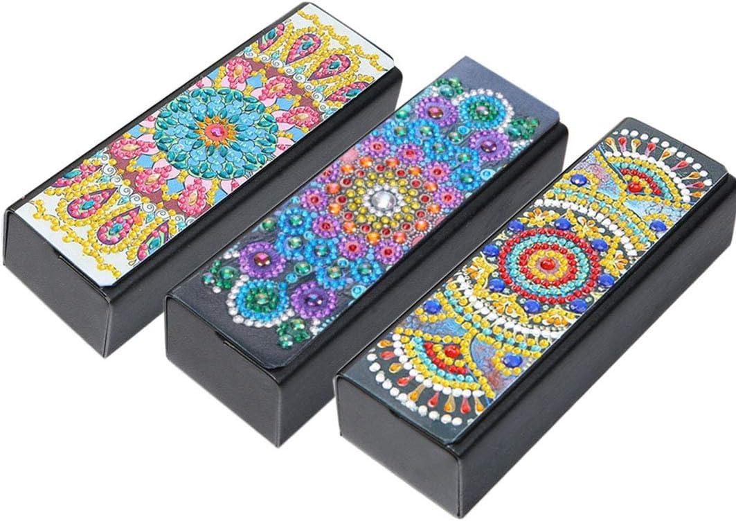DIY Glasses Case, Diamond Painting Mandala Alloyseed Leather, Eye Glasses Storage Box, Sunglasses Organizer, for Kids, Women, Men, 3 Pack