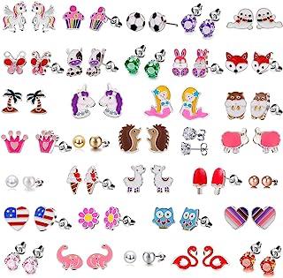 گوشواره های ضد حساسیت 33 جفتی گل میخ مخصوص دخترانه گوشواره های حساس - ست گوشواره پروانه ای برای بچه ها - گوشواره های گل پری دریایی CZ گل میخ دخترانه - گوشواره حیوانات دخترانه نوجوان