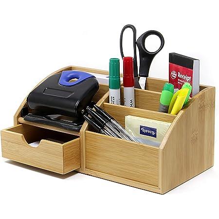 Organiseur de bureau en bambou amovible avec plusieurs compartiments pour bureau ou maison