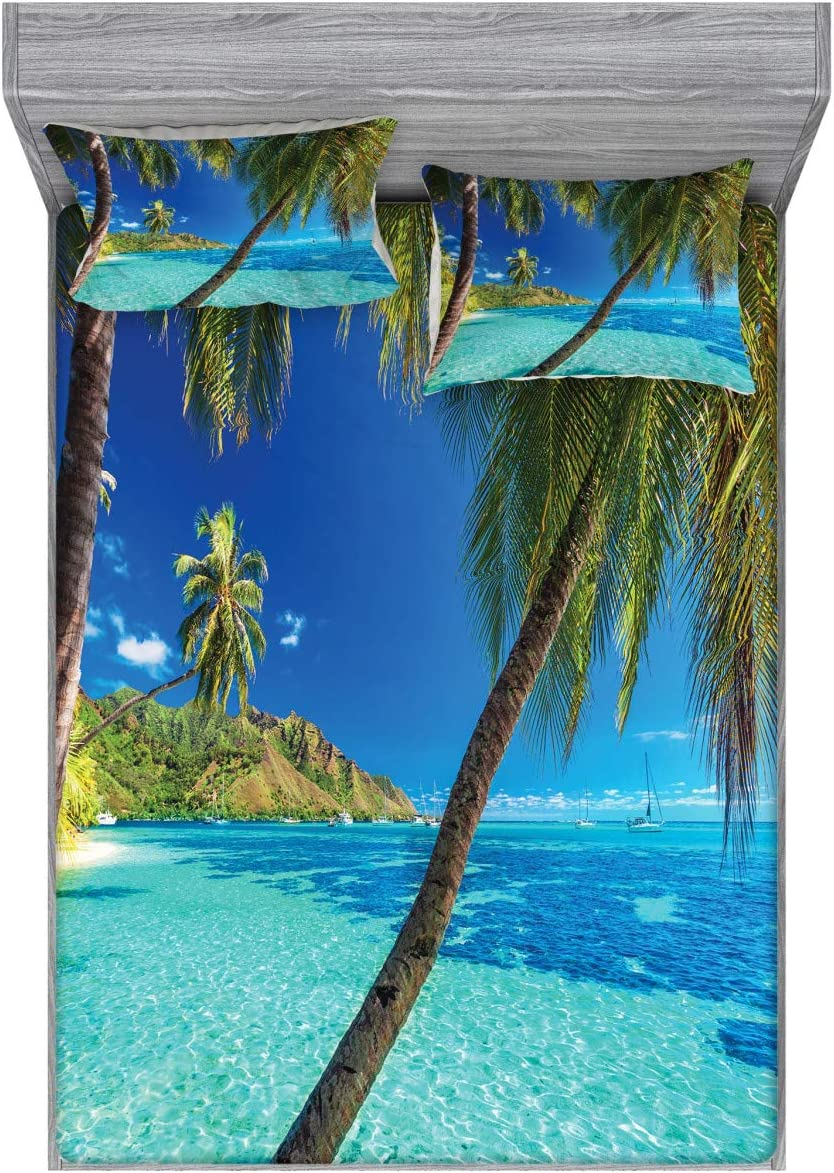 Ambesonne Ocean Fitted Sheet Pillow Sham NEW before selling Daily bargain sale Image Set of Tropi a