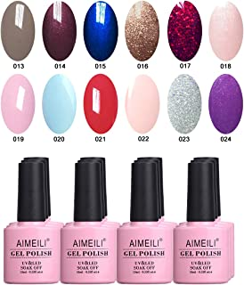 AIMEILI Soak Off UV LED Gel Nail Polish Multicolor/Mix Color/Combo Color Set Of 12pcs X 10ml - Kit Set 4