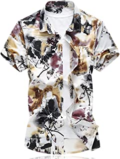 Angelo メンズシャツ 半袖 花柄Tシャツ アロハシャツ 花柄 メンズTシャツ カットソ ー 半袖 ジャガード カジュアル アロハ ハワイ フラワー ボタニカル柄 ハワイビーチ系 半袖シャツ スリム きれいめ 大きいサイズ