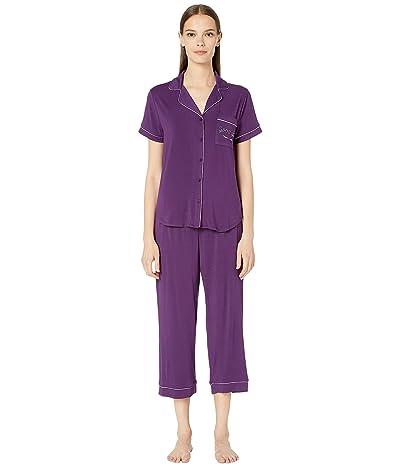 Kate Spade New York Get Comfortable Modal Spandex Short Sleeve Capris PJ Set (Dark Purple) Women