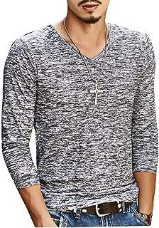 Mens Long Sleeve Notch Collar T Shirts Bottoming Shirt Vogue Tops