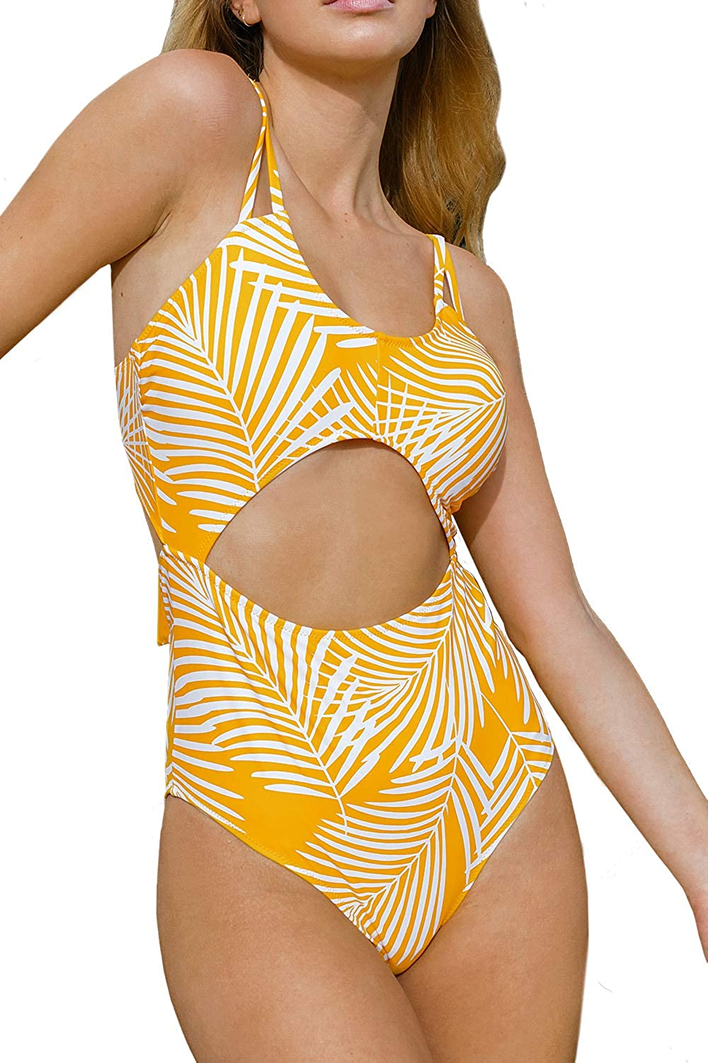 CUPSHE Women's Yellow Leaf Print Cut Padded Lace Award-winning store Out One Over item handling ☆ Up Sexy