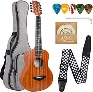 8 String Ukulele Professional 26 inch Tenor Uke Solid Mahogany Ukelele With Ukele Beginner Kit (Strap, Gig Bag, Extra Stri...