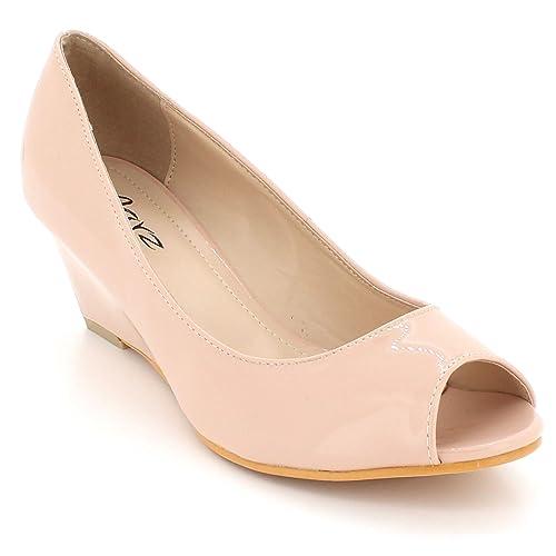574e4858b7b48 Womens Beige Peep Toe Shoes: Amazon.co.uk