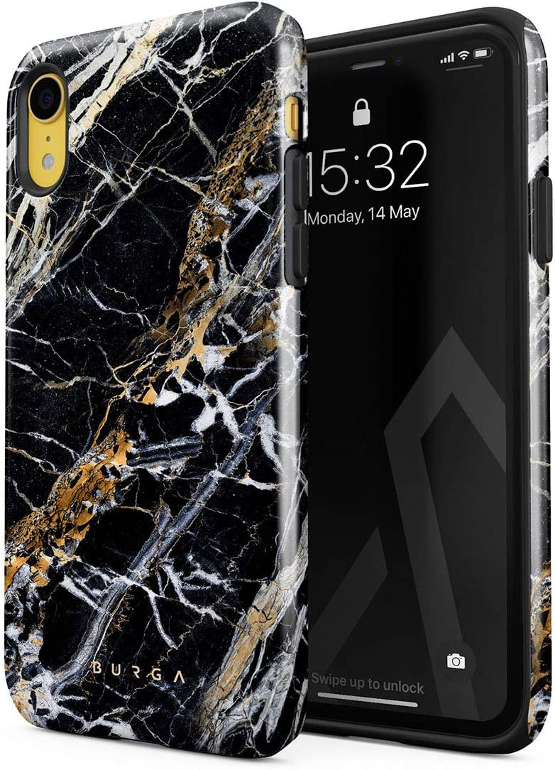 BURGA Phone Case Compatible with iPhone XR - Black and Gold Onyx Marble Golden Stone Cute Case for Women Heavy Duty Shockproof Dual Layer Hard Shell + Silicone Protective Cover