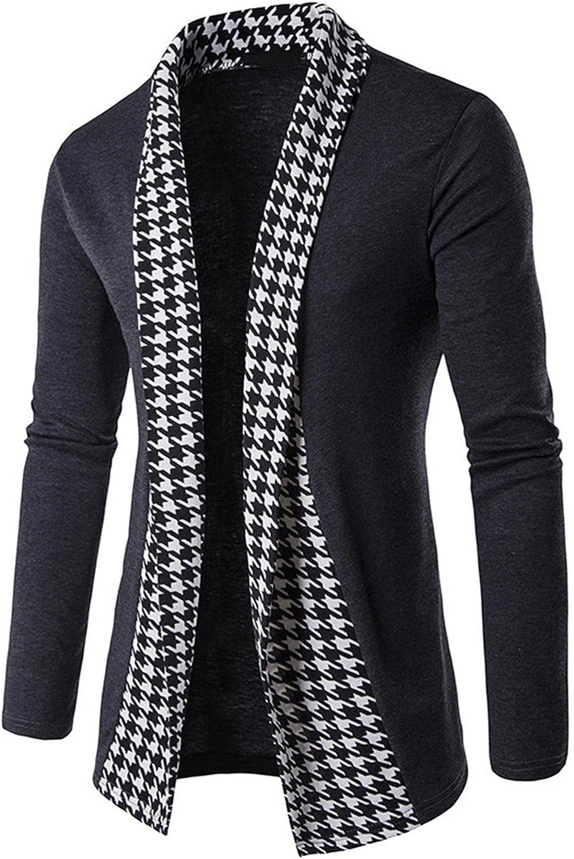 Men's Knitted Coat Cardigan Sweater Outwear Fashion Placket Contrast Color Cardigan Jakcet